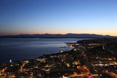 Nacht de Van de binnenstad van Seattle, spruit van Ruimtenaald stock afbeeldingen
