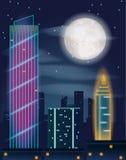 Nacht in der Stadt Gebäude, Vollmond und Sterne Stockfotos