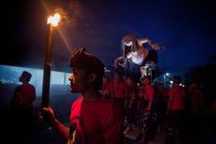 Nacht des neuen Jahres auf Bali, Indonesien Stockfotografie