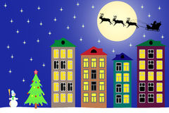 Nacht des neuen Jahres in der Stadt. Lizenzfreie Stockbilder