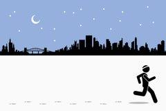 Nacht die bij stad lopen Stock Afbeeldingen
