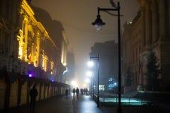 Nacht die de stad loopt Royalty-vrije Stock Afbeeldingen