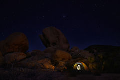 Nacht, die in Joshua Tree National Park kampiert Stockfoto