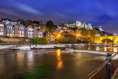 Nacht-Durham-Kathedralen-Fluss-Abnutzung jpg lizenzfreies stockbild