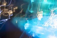 Nacht eclectische blauwe lichten stock fotografie