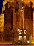 Nacht in een middeleeuws vierkant Royalty-vrije Stock Foto