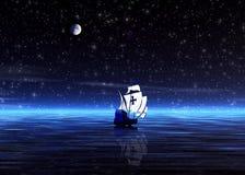 Nacht. Eenzame sailer Stock Afbeeldingen