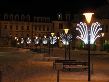 Nacht en Kerstmislichten in het centrum Stock Afbeelding
