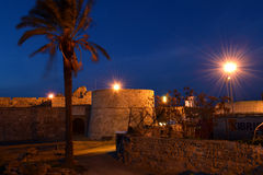 Nacht in Famagusta-haven, Cyprus Royalty-vrije Stock Foto
