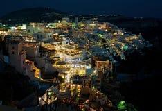Nacht-Fira-Panorama bei Santorini, Griechenland 3 Lizenzfreies Stockfoto