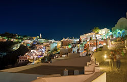 Nacht Fira in Santorini, Griekenland Stock Afbeelding