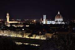 Nacht Firenze Florence Piazzale Michelangelo Lizenzfreie Stockbilder