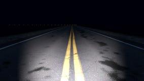 Nacht gebogen weglijn stock footage