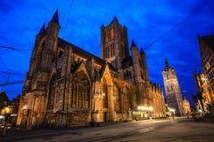 Nacht in Gent Stockbild