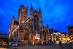 Nacht in Gent Lizenzfreies Stockfoto