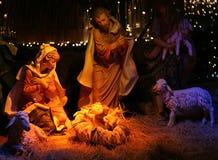 Nacht geschossen von einer Geburt Christi-Szene Stockfotografie