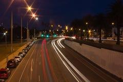 Nacht Geschotene Weg in Melbourne royalty-vrije stock afbeeldingen