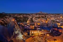 Nacht-Goreme-Stadt, die Türkei lizenzfreies stockfoto