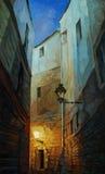 Nacht in Gotisch kwart van Barcelona, het schilderen Stock Foto