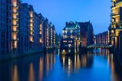Nacht Hamburg Royalty-vrije Stock Afbeelding