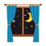 Nacht heraus das Fenster mit den blauen Vorhängen lokalisiert auf weißem Hintergrund Schlaf und Rest vektor abbildung