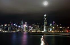 Nacht Hong Kong Stockbild