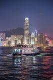 Nacht in Hongkong Royalty-vrije Stock Foto's