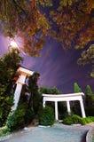 Nacht im Park Bäume hinter den Spalten Lizenzfreies Stockbild