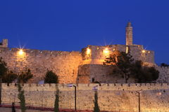 Nacht Jeruzalem Royalty-vrije Stock Afbeelding
