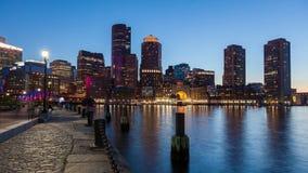 Nacht-4K timelapse von Boston-Skylinen - Massachusetts - USA stock video