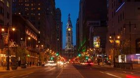 Nacht-4K timelapse von Philadelphia-Straßen - Philly-Zeit laspe - Pennsylavania USA