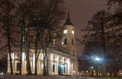 Nacht Kaluga Centraal park stock afbeeldingen