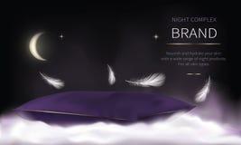 Nacht kosmetische reeks voor de zorg van de gezichtshuid stock illustratie