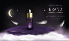 Nacht kosmetische reeks voor de zorg van de gezichtshuid royalty-vrije illustratie