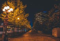 Nacht lege straat in Seattle de stad in Stock Foto's