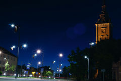 Nacht in Litouwse stad Stock Fotografie