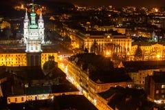 Nacht Lviv Royalty-vrije Stock Foto's