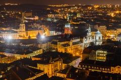 Nacht Lviv Stock Afbeelding