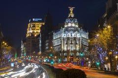 Nacht in Madrid lizenzfreie stockfotografie
