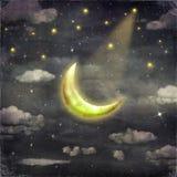Nacht met sterren en maan Royalty-vrije Stock Afbeeldingen