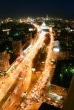 Nacht in Moskau-Stadt Stockbild