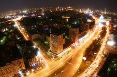 Nacht in Moskau-Stadt Lizenzfreie Stockfotografie