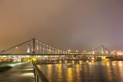 Nacht Moskou, Krymsky-brug Stock Fotografie