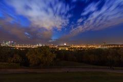 Nacht Moskou, panorama Stock Fotografie