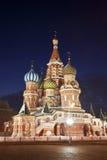 Nacht Moskou. St. de Kathedraal van het basilicum Royalty-vrije Stock Afbeelding