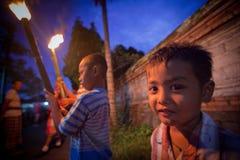 Nacht Nyepi - Balinees Nieuw jaar Royalty-vrije Stock Foto's