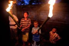 Nacht Nyepi - Balinees Nieuw jaar Royalty-vrije Stock Fotografie