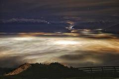 Nacht op een berg Stock Afbeelding