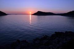 Nacht op het overzees op eiland Lastovo Stock Foto