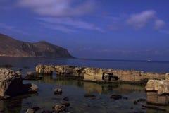 Nacht op overzees bij Favignana-eiland sicili? Itali? Lange Blootstelling stock foto